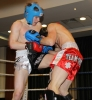Young kickboxing sensation Davird Bird lands a hard knee strike against Swiss opponent Mattio Lo Valvo