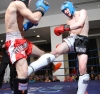 Young kickboxing sensation Davird Bird in K1 style action against Swiss opponent Mattio Lo Valvo