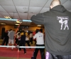 ProKick instructor and referee for the evening Gary Fullerton oversees the 20 plus novice kickboxers