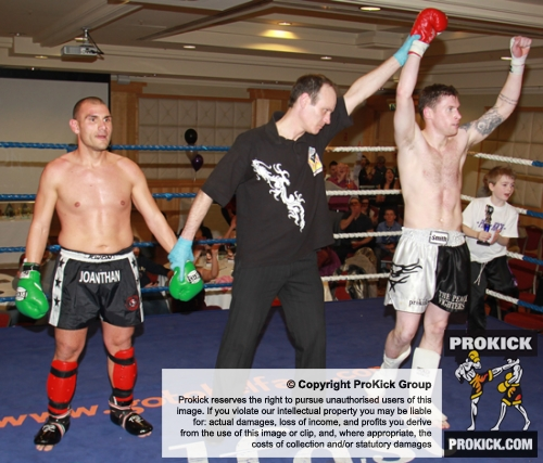 ProKick fighter Johnny Smith gets thw win over tough opponent Jonathan Curmi of Malta.