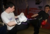 ProKick member Jamie McCusker sparring with one of his team mates Martin Gibson sparring at ProKick HQ