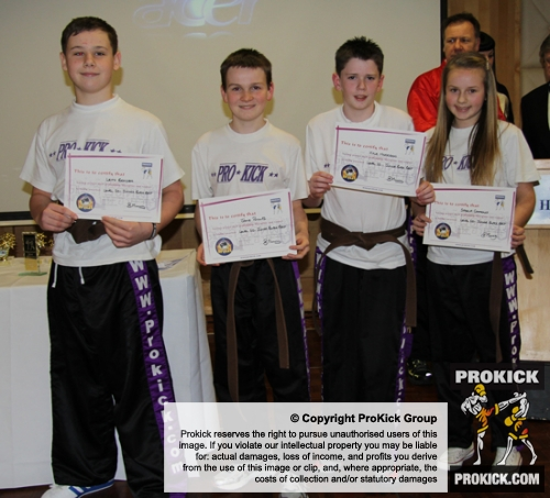 Leith Braiden, Jamie Phillips, Kyle Morrison and Saskia Connolly, ProKick's new Junior Black Belts.
