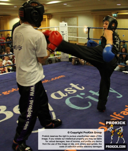 Nuala Ward in action against Yvonne McNevin from Black Dragon Galway