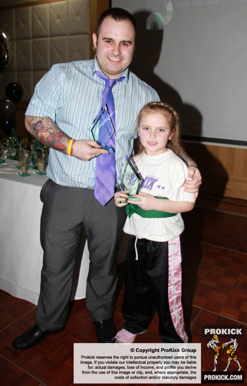 ProKick member Robert Buchanan accepting his ProKick Parent Of The Year Award with daughter and junior ProKick member Morgan.