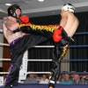 ProKick fighter Stuart Jess defends against English fighter Sam Ward in their tenacious bout