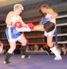 ProKick fighter Ursula Agnew lands a hard front kick on Aisling Daly