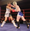 ProKick's Ursula Agnew takes a hard shot from Aisling Daly