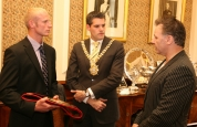 Darren at city hall talking with the lord Mayor about kickboxing