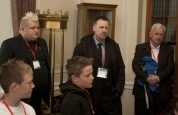 Some of the ProKick team listen to the First Minister talking about Stormont