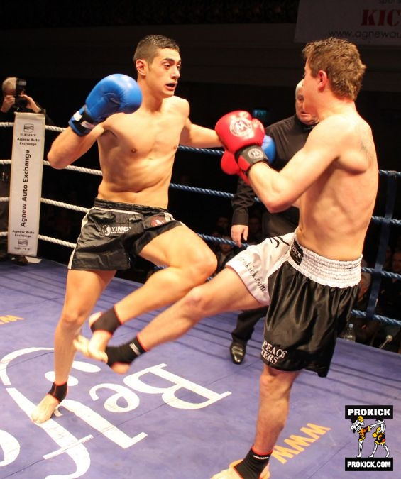 Action low-kick with Cioici and Spiteri