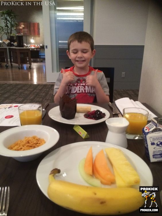 Breakfast time at hotel in LA USA