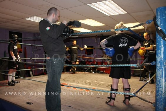 Michael Lennox filming sparring with the KICKmas team