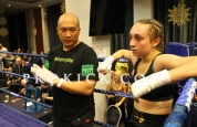 Ariana with coach after stoppage