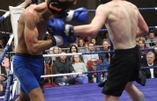 Left Hook in kickboxing action